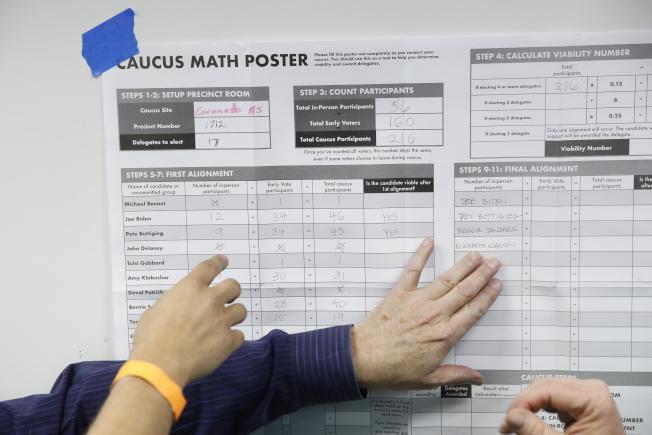內華達州選民在一個投票所查看候選人的得票數。(美聯社)