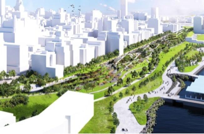改造計畫之一是直接將BQE的六車道路段建成公路公園,圖為改建後的效果圖。(市議會提供)