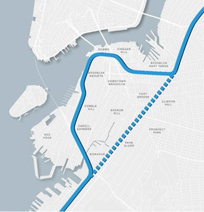 隧道計畫可取代BQE上的彎道,將彎道路段改造成其他用途的公共空間。(市議會提供)
