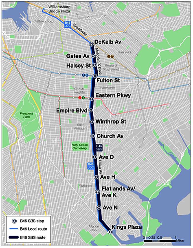 B46公車路線監控攝像頭開啟,60天寬限期後將罰款。(取自MTA網站)