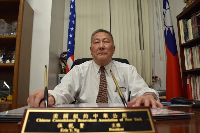 伍銳賢第三任任期將滿,他為自己在過去兩年的成果,打了60分的及格分數,最大的遺憾就是無法改變華埠地稅現況。(記者顏嘉瑩/攝影)