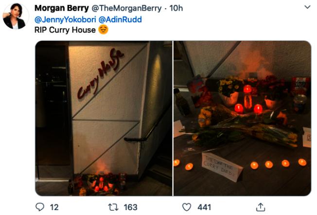 已經有網友發起「悼念」Curry House餐廳關門的活動和照片。(取自Twitter)