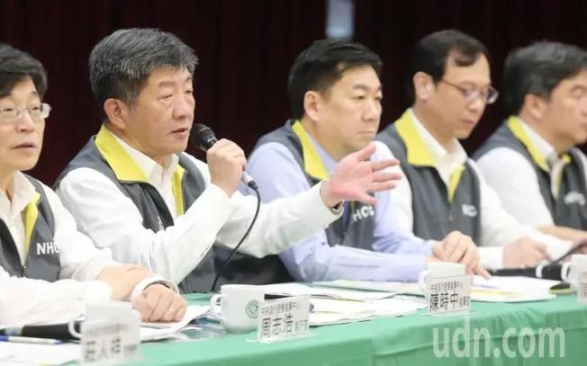 圖為衛福部長陳時中等人出席記者會情形。記者曾學仁/攝影