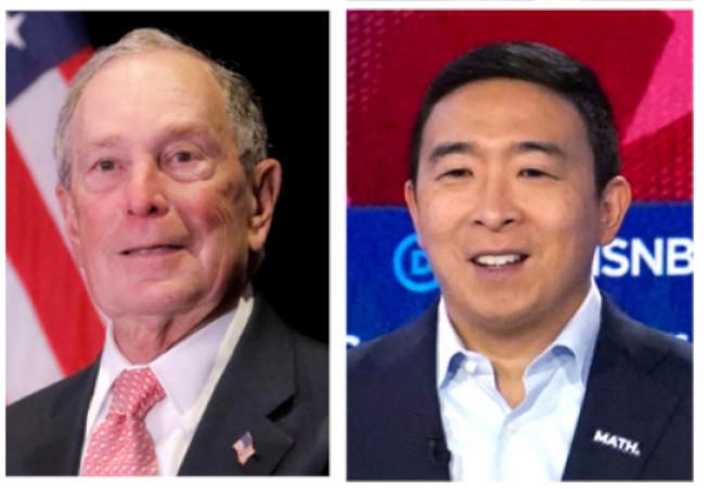 華爾街日報指,前紐約市長彭博(左)有意邀楊安澤(右),搭檔做副手,競選正副總統。(路透)