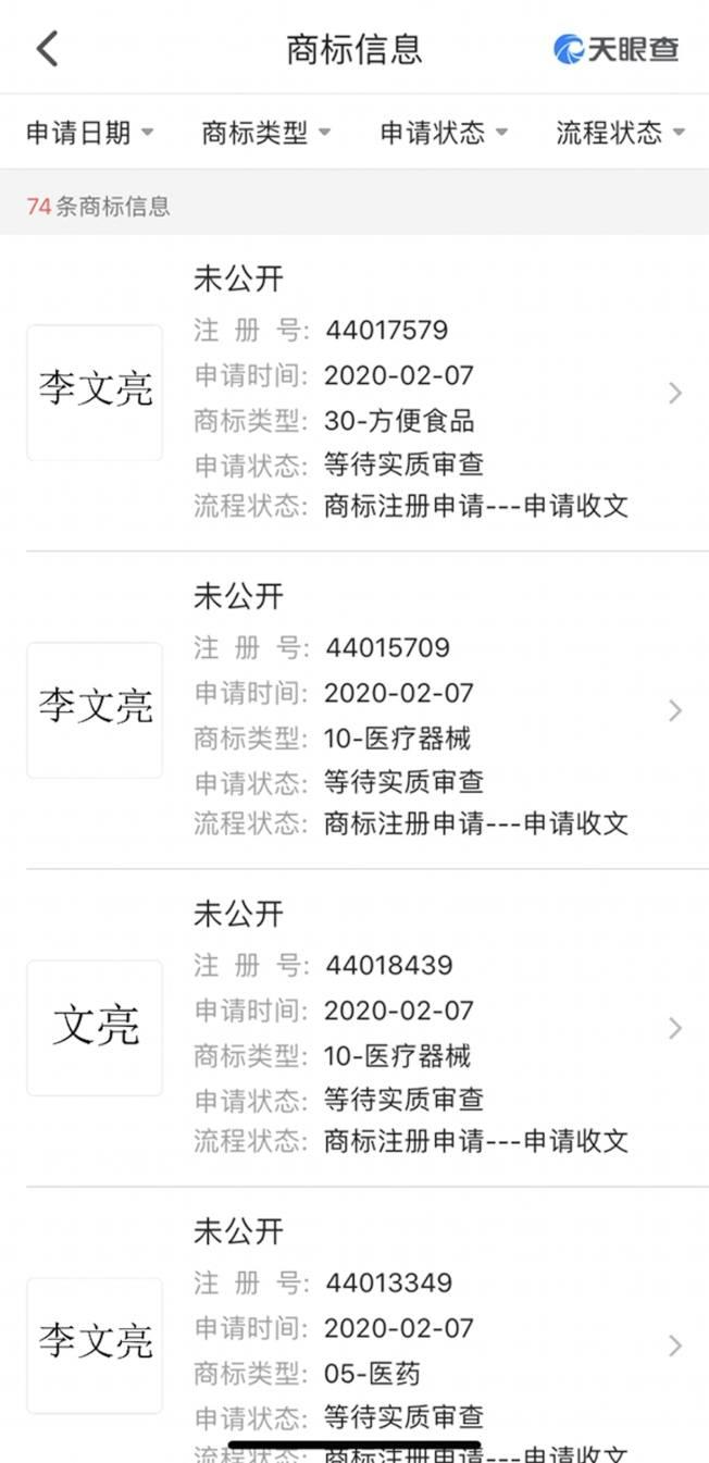 長沙市福茶堂電子商務有限公司在李文亮病逝當天就遞文申請註冊「李文亮」、「文亮」等商標。(取材自澎湃新聞)