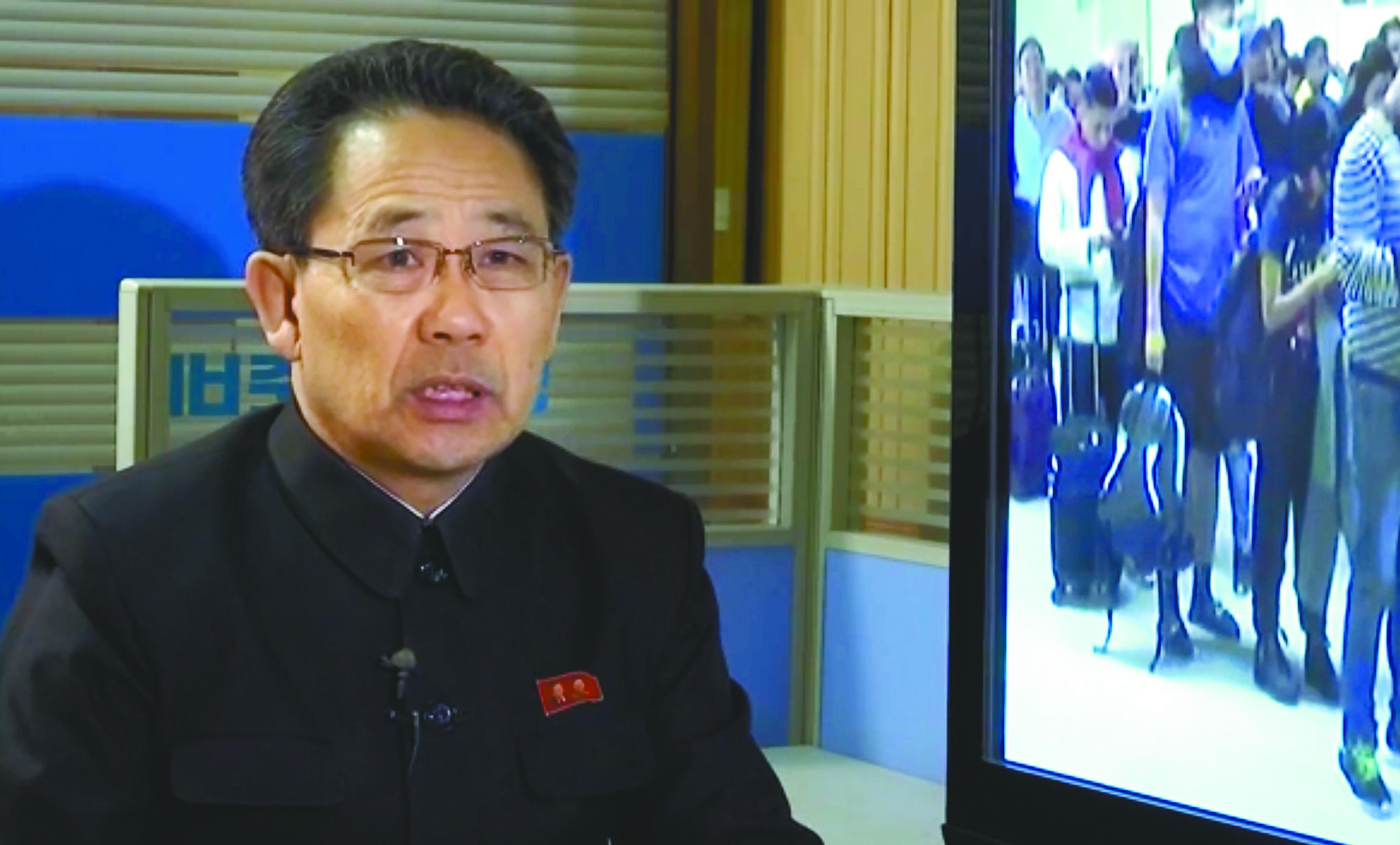 北韓衛生部長在平壤說明北韓採取措施,努力扼制新冠病毒傳播。(美聯社)