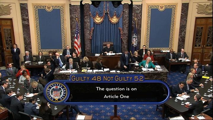 參院5日下午判定川普無罪,彈劾進程結束。(美聯社)