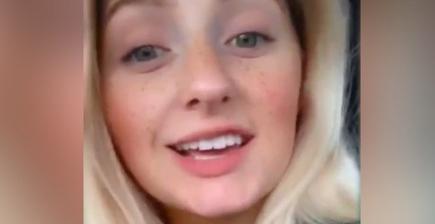 田納西州一名21歲女子在影片中表示,感染新冠肺炎是別人家的事,還在網路上嘲諷保持社交距離1.8公尺的防疫措施,結果自己卻染疫,悔不當初。(取自推特)