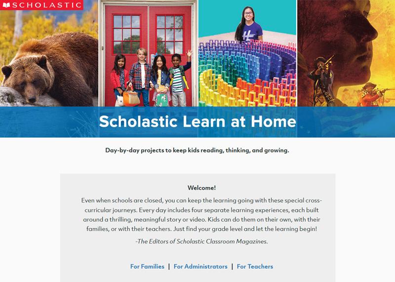 跨國出版、教育及多媒體公司「學樂集團」(Scholastic Corporation) 宣布,推出「學樂在家學習」(Scholastic Learn at Home)免費數位服務,讓小朋友留在家裡的這段期間,可以繼續自修,讓學習不至於中斷。圖取自「學樂在家學習」網站截圖