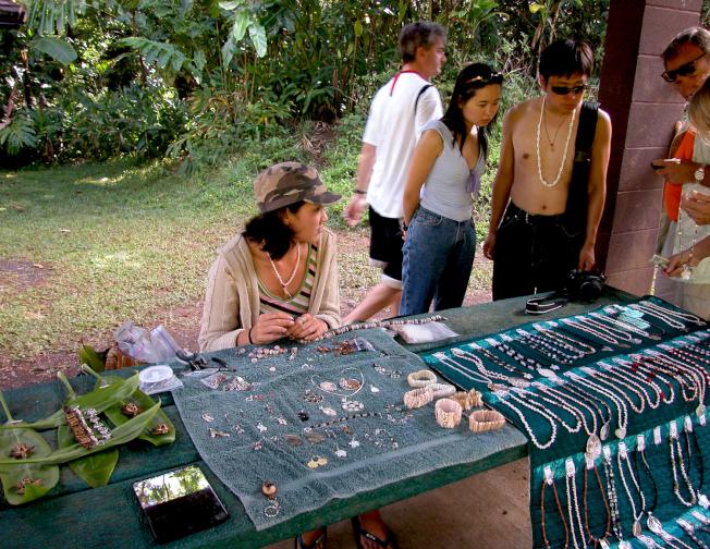 毛伊島州立公園路旁有工藝品小攤。