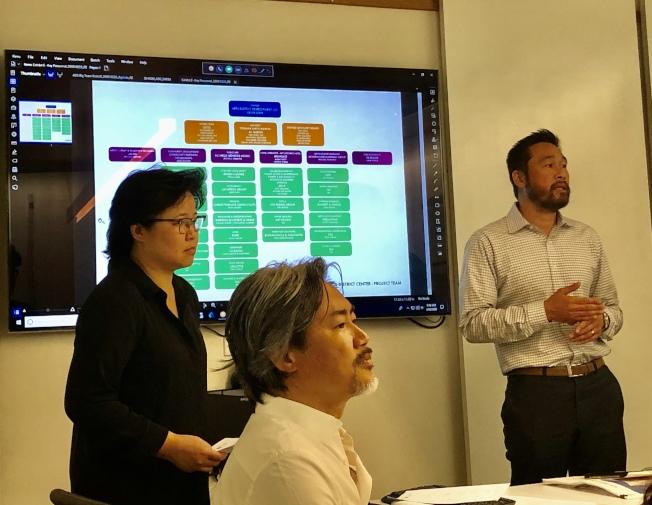 「藝術區中心」(Arts District Center)開發商陳嘉汶(Kevin Chen,中),與AC Martin建築設計公司執行長─華裔建築師謝志聰(Tom Hsieh,右)聽取團隊專家的提問。(記者胡清揚/攝影)