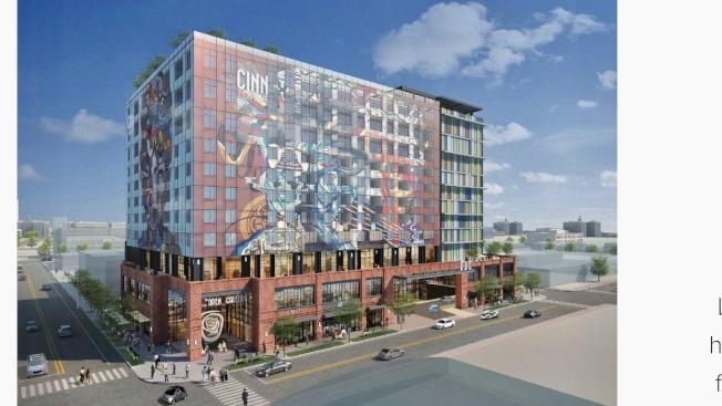 洛市東五街1101號將建成12層樓高結合旅館、康斗、藝廊、餐廳與商舖的「藝術區中心」(Arts District Center)。(陳嘉汶提供)