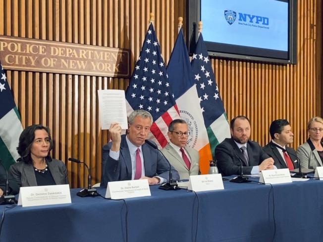 白思豪表示截至5日,紐約市共有四位新冠確診病患。(記者鄭怡嫣/攝影)