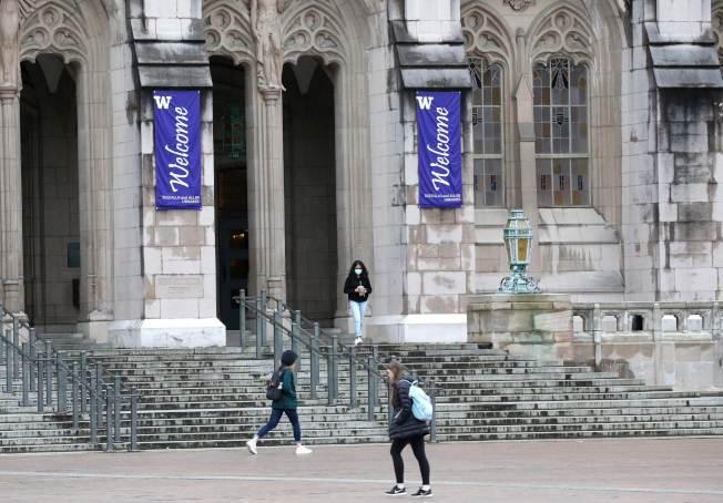 華盛頓州疫情持續擴散,華盛頓大學宣布,3月9日周一開始,大學將關閉, 全校5萬名學生將進行線上課程。(Getty Images)