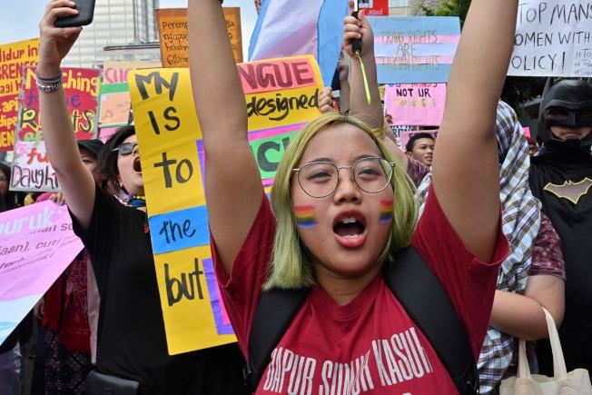 印尼的國際婦女節遊行,也集合了同志遊行的力量。(Getty Images)