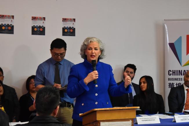 勞特表示,她與市警聯絡時,發現目前的仇恨犯罪數量為零。(記者顏嘉瑩/攝影)