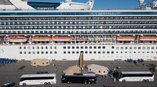 「至尊公主號」郵輪因傳出至少21個新型冠狀病毒確診病例,被加州政府拒絕靠岸多日,直到9日才獲准進入奧克蘭港口,數千乘客分批下船。(Getty Images)