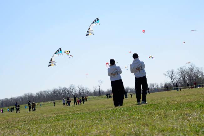 公園享受放風箏樂趣。(市府臉書)