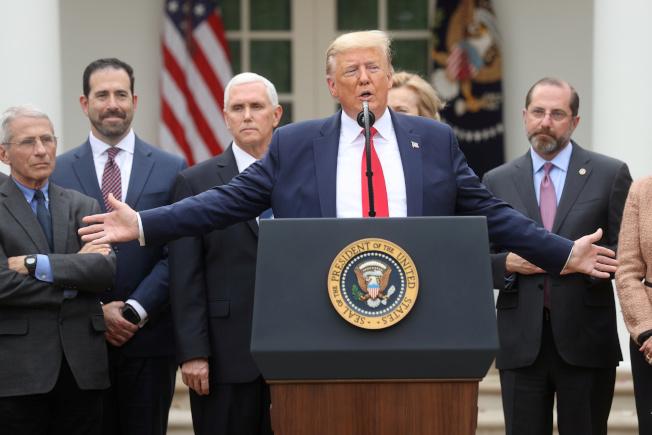 川普在白宮舉行記者會宣布,結合政府和民間力量共同抗疫。(路透)