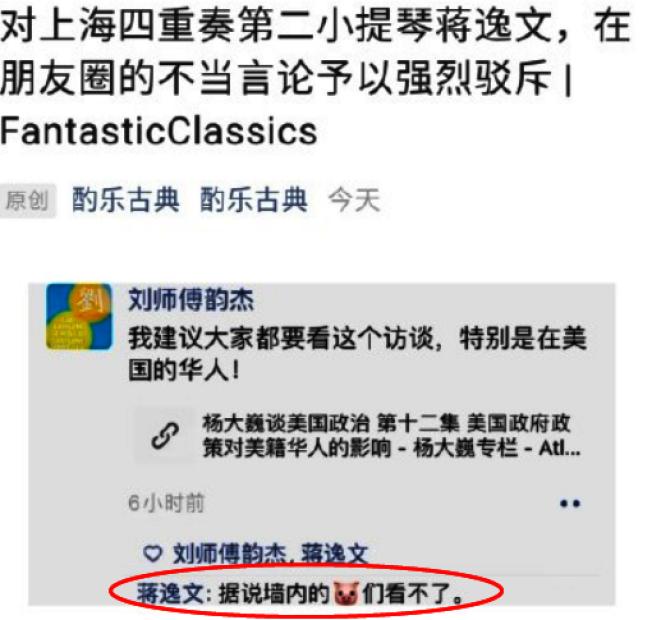 蔣逸文發布「據說牆內的豬看不了」言論,引發中國網友不滿。(取材自環球網)