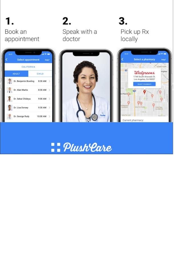 新冠疫情期間,遠距醫療App走紅。(PlushCare)