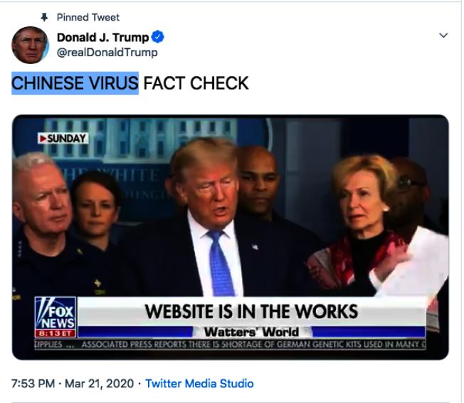 川普屢屢在推特上使用「Chinese Virus」的說法。(取自川普推特)
