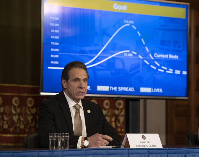 葛謨表示,紐約全州新冠肺炎確診總數達1萬5168個,死亡人數達114人,超過華盛頓州,為全美最多。(州長辦公室提供)
