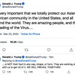 川普首度推文:病毒傳播 非亞裔的錯  亞裔美國人很棒