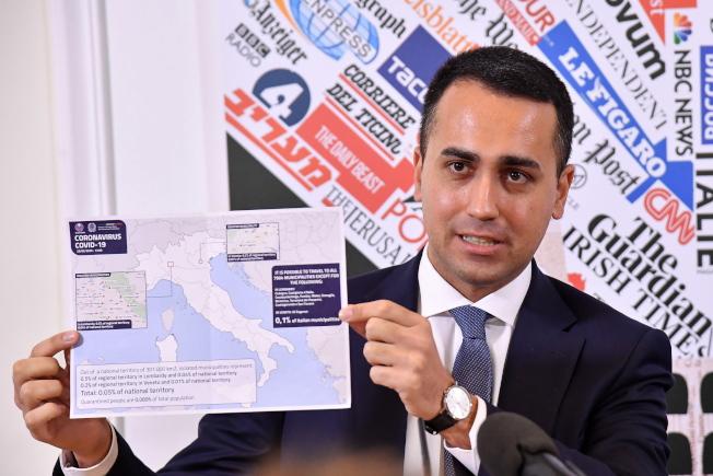 義大利外交部長迪馬約(圖)表示,中國送來1億片口罩。(歐新社)