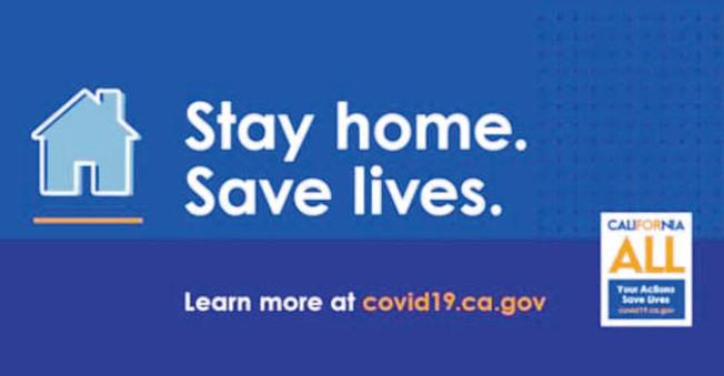 州長紐森為持續攀升的新冠病毒疫情推出新宣傳口號「留在家裡,拯救生命」。(州長辦公室)