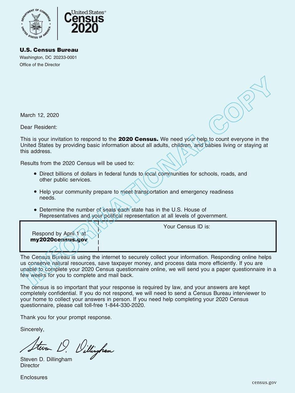 民眾收到信件中都會有Code ,提供網上作業。(圖片取自美國人口普查局)