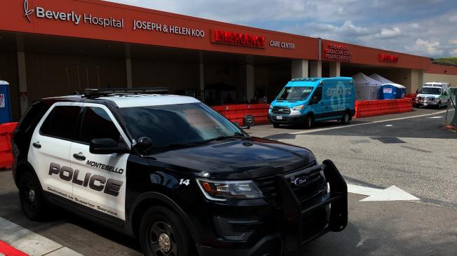 蒙地贝娄市警局24小时在医院急症室巡逻,防止发生医疗设备遭盗窃、抢劫。(记者陈开/摄影)