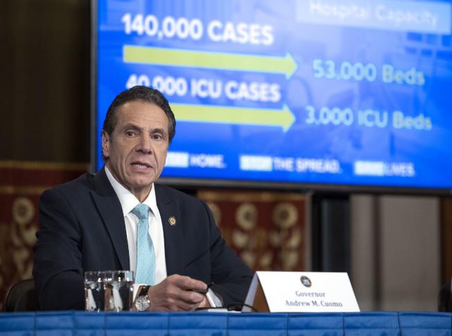 紐約州長葛謨表示,目前全州新冠肺炎感染人數已經突破3萬人,但目前採取的嚴格防控措施已經初見成效。(州長辦公室提供)