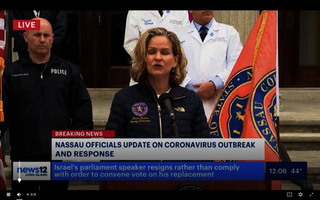 庫倫表示,納蘇郡截至25日已有3285例新冠肺炎確診,其中新增七例死亡,讓全郡總死亡人數達17人。(News12視頻截圖)