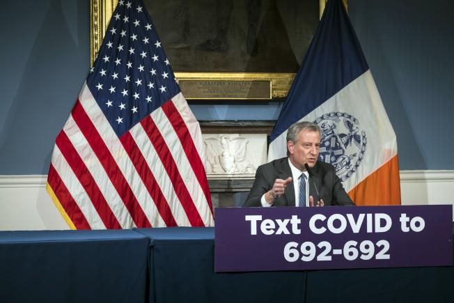 紐約市長白思豪(Bill de Blasio)26日表示,紐約市一半人口都將感染。圖/市長辦公室提供