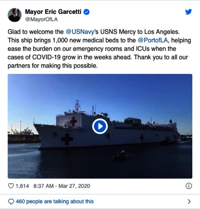 洛杉磯市市長賈西提也分享醫療艦靠港喜訊。(取自賈西提推特)