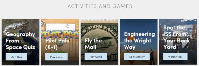 航空航天博物館網站提供遊戲和活動,可供不同年齡層學子悠遊探索。(截自網頁)