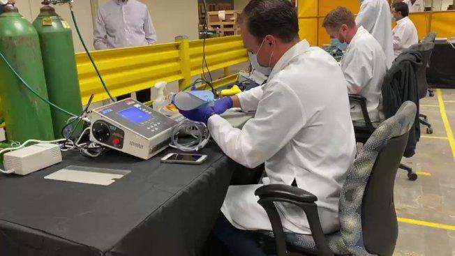 南灣桑尼維爾市的Bloom Energy,原來生產能源電池,但臨時改為生產呼吸機。(Getty Images)