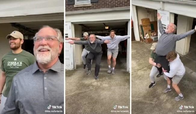 美國肯塔基州路易維爾居民丹.麥法蘭和兒子柯林和狄倫一起參加抖音尬舞挑戰賽「Blinding Lights Challange」,影片觀看次數據指超過960萬,另有170萬人點讚,丹也被讚為新冠肺炎肆虐時的「隔離英雄」。畫面翻攝:Twitter/CasCasG