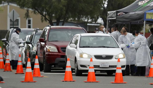 預測數據顯示,加州新冠疫情高峰期可能出現在4月底。圖為東灣海沃病毒檢測站車輛排隊進行檢測。(美聯社)