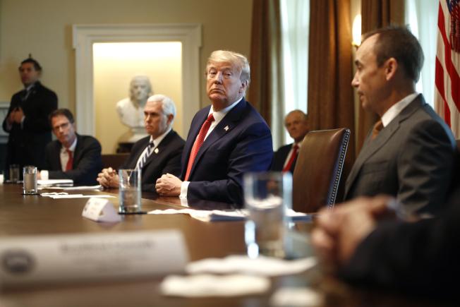 川普總統29日在白宮內閣會議聽取抗疫簡報,聽取供應商的說明。(Getty Images)
