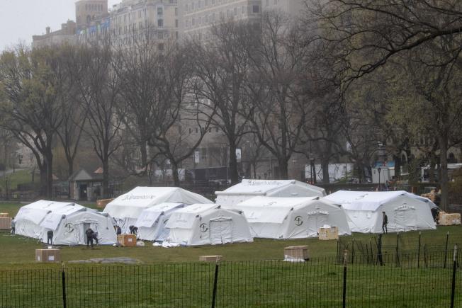 在紐約市曼哈頓中央公園內,29日搭建起臨時醫院。(美聯社)