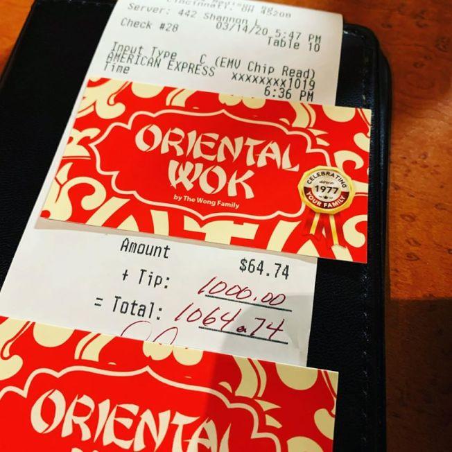 俄亥俄州海德公園的「Oriental Wok」中餐館,收到一名顧客留下1000元小費。(取自Instagram)