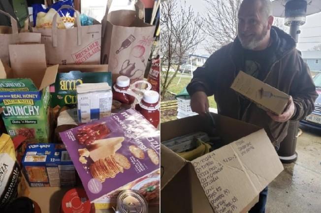 史黛芬妮還在車庫裡花了3小時分裝打包,接著再冒雨送到每個有需要的家庭。圖擷自臉書