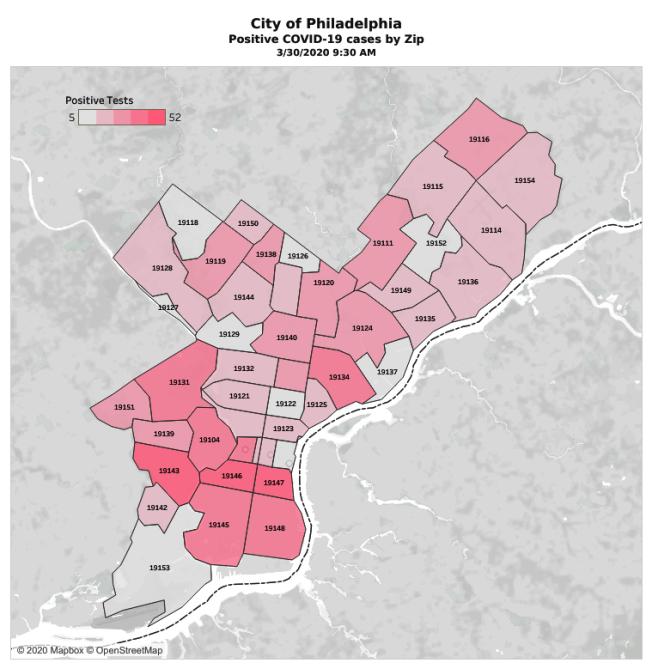 圖為30日費城地區累計確診病例分布,顏色越深越嚴重。(市府提供)