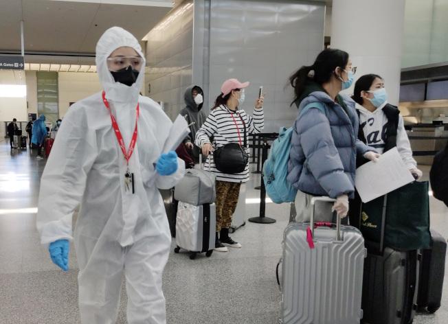 中國準備撤離在美國約6萬名中學以下留學生。圖為前往中國的乘客在舊金山國際機場辦理登機手續。(中新社)
