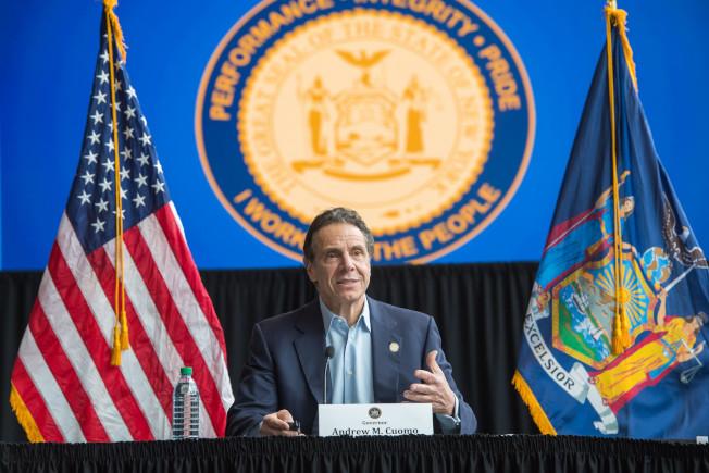 葛謨表示,全州新冠肺炎死亡增至1356例,呼籲全國非緊急疫區的醫護人員支援紐約抗疫。(州長辦公室提供)