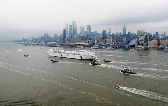 紐約州成為全美新冠肺炎重疫區,全州確診病例增加近12%,達6萬6497例;累計1218人死亡,日增26%,疫情還會惡化。在此之際,海軍醫療艦「安慰號」30日在千呼萬盼之中,抵達紐約市。圖為自維州兼程趕來支援的「安慰號」,30日進入背景是曼哈頓的紐約港。(路透)