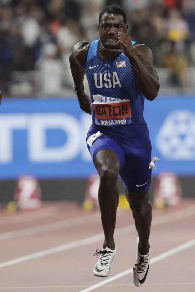 短跑老將蓋特林將以39歲之姿爭奪奧運金牌。(美聯社)