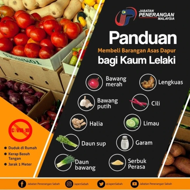 馬來西亞超市為了因應太多男人在超市裡迷路,不得不貼出說明,教男人們認識蔬菜。圖/Twitter